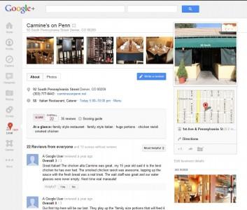 Google + Local Carmine's On Penn