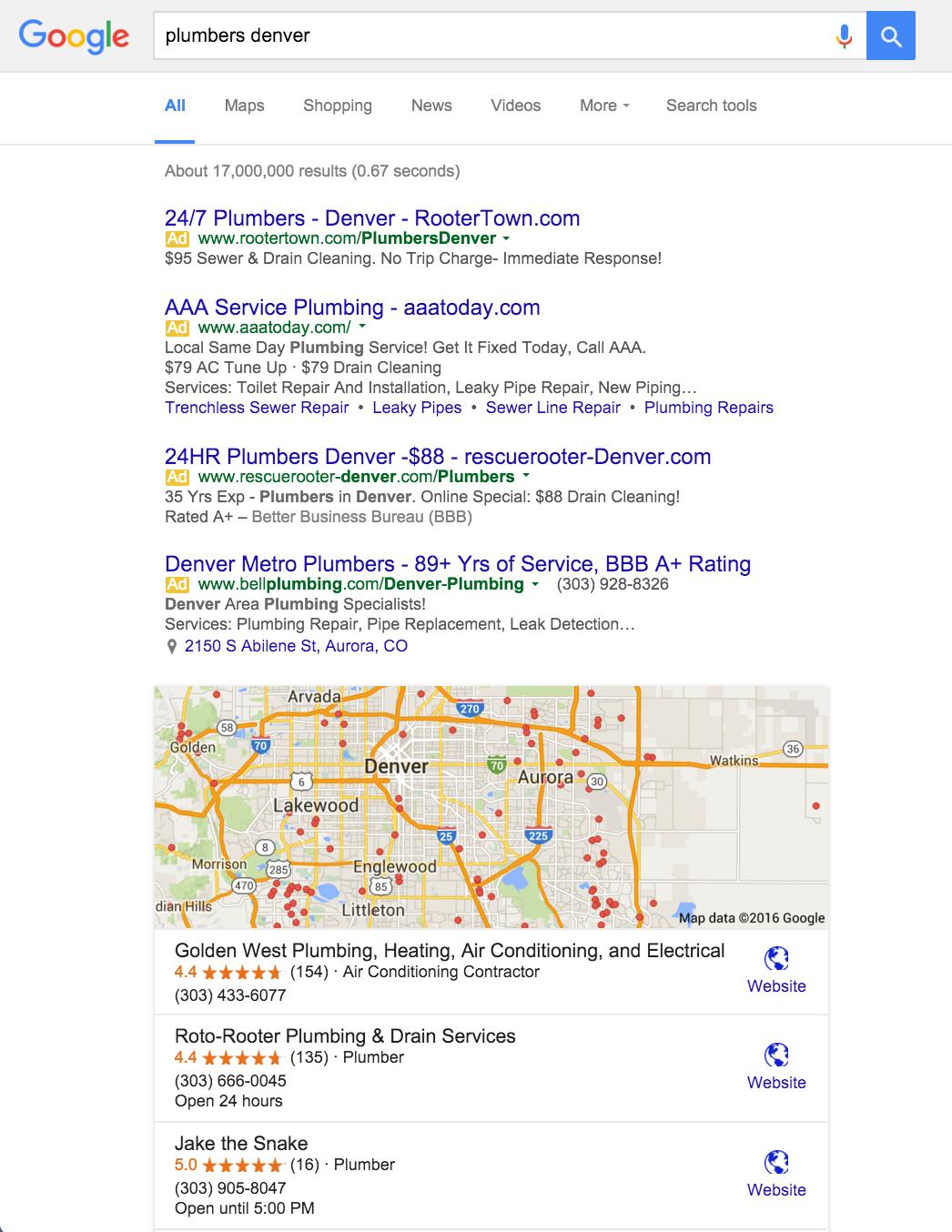 google discards right side desktop ads is the sky falling plumber denver new layout