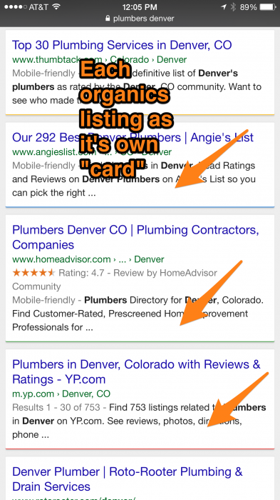 new mobile search layout testing from Google
